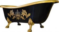Pompöös by Casa Padrino Luxus Badewanne Deluxe freistehend von Harald Glööckler Schwarz / Gold / Schwarz 1560mm mit goldfarbenen Löwenfüssen