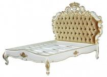 Barock Bett Venice Superior Weiß / Gold Samtstoff 180 x 200 cm aus der Luxus Kollektion von Casa Padrino