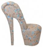 Casa Padrino High Heel Sessel Blumen Muster Creme / Blau Luxus Design - Designer Sessel - Club Möbel - Schuh Stuhl Sessel