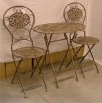Jugendstil Gartenmöbel Set Kupferfarben - 1 Tisch, 2 Stühle - Metall - Garten Möbel Garnitur