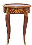 Casa Padrino Barock Beistelltisch Mahagoni Intarsien / Gold H75 x 55 cm - Ludwig XVI Antik Stil Tisch - Möbel