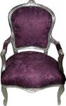 Barock Salon Stuhl Lila Muster / Silber - Antik Stil Möbel