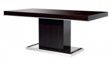 Casa Padrino Designer Luxus Esstisch Braun Hochglanz / Chrom - Esszimmer Tisch - Konferenztisch