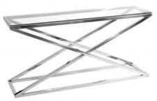 Casa Padrino Designer Edelstahl Konsole mit Glasplatte in silber 150 x 40 x H. 74 cm - Luxus Möbel