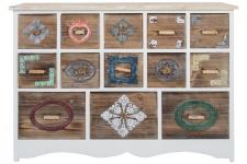 Casa Padrino Landhausstil Kommode mit 13 Schubladen Weiß / Mehrfarbig 108 x 39 x H. 81 cm - Landhausstil Möbel