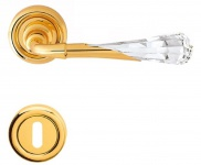 Casa Padrino Luxus Türklinken Set Gold 15 x H. 5 cm - Türgriffe mit Swarovski Kristallglas