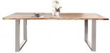 Casa Padrino Designer Massivholz Esstisch Natur - Akazie - 200 x 100 x H.80 cm - Aus massivem Akazienholz