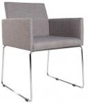 Casa Padrino Designer Stuhl mit Armlehnen Grau 55cm x 80cm x 60cm - Büromöbel