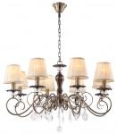 Casa Padrino Barock Kristall Kronleuchter Bronze / Creme Ø 83 x H. 52 cm - Wohnzimmermöbel im Barockstil
