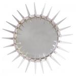 Casa Padrino Luxus Art - Deco Spiegel Silber Ø 80 cm - Wandspiegel - Wohnzimmer Dekoration