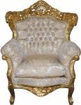 "Casa Padrino Barock Sessel "" King"" Mod 2 Creme/ Gold Muster /Gold mit Bling Bling Glitzersteinen- Möbel Antik Stil"
