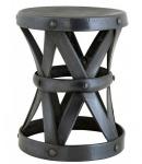 Casa Padrino Designer Luxus Beistelltisch / Sitzhocker Gunmetal Finish Höhe 37 cm, Durchmesser 29 cm - Edelstahl Hocker