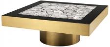 Casa Padrino Luxus Edelstahl Couchtisch mit Kunstmarmorplatte Messingfarben / Hochglanzschwarz / Grau 100 x 100 x H. 38 cm - Designer Wohnzimmermöbel