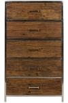 Casa Padrino Luxus Kommode mit 5 Schubladen Braun / Silber 60 x 40 x H. 110 cm - Luxus Möbel