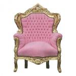 "Casa Padrino Barock Sessel "" King"" Rosa/Gold - Möbel Antik Stil"