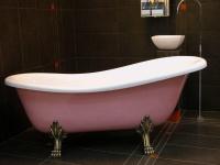 Freistehende Luxus Badewanne Jugendstil Roma Rose/Weiß/Altgold 1470mm - Barock Antik Badezimmer