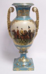 Casa Padrino Barock Porzellan Vase mit 2 Griffen H. 55 cm - Luxus Vase