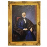 Riesiges Handgemaltes Barock Öl Gemälde Monsieur Noblesse Gold Prunk Rahmen 220 x 160 x 10 cm - Massives Material