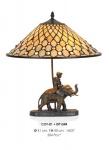 Handgefertigte Tiffany Dekoleuchte Figurenleuchte Höhe 50 cm, Durchmesser 41 cm - Leuchte Lampe - Statuette - Elefant