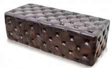 Casa Padrino Luxus Chesterfield Echtleder Fußhocker Rotguss 144 x 64 x H. 46 cm - Luxus Möbel