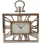 Casa Padrino Luxus Tischuhr / Wanduhr im Design einer antiken Taschenuhr Silber Naturfarben 25 x 5 x H. 30 cm - Dekorative Uhr mit einem Ziffernblatt aus unbehandeltem Holz