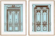 Casa Padrino Bilder / Kunstdruck Set Antike Französische Türen Mehrfarbig 83 x H. 113 cm - Luxus Kollektion