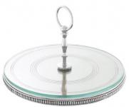 Casa Padrino Luxus Kuchen Servierplatte mit Tragegriff Silber Ø 29 x H. 18, 5 cm - Luxus Etagere 1-Stufig