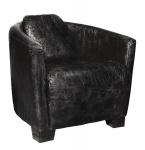 Art Deco Echtleder Sessel Ebony Leder / Antik-Schwarz - Clubsessel - Lounge Sessel