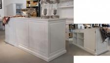 Casa Padrino Laden Theke Weiss H 101 x B 215 cm - Thekenschrank Theke Ladeneinrichtung Pinienholz