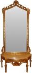 Casa Padrino Barock Spiegelkonsole - Garderobenkonsole Gold mit Marmorplatte und mit schönen Barock Verzierungen auf dem Spiegelglas Mod6 - Antik Look
