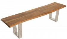 Casa Padrino Designer Sitzbank Braun / Silber 180 x 45 x H. 45 cm - Luxus Sitzbank mit massivem Sheesham Holz und polierten Edelstahl Beinen