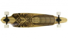 Paradise Complete Longboard Komplettboard Bamboo DropThru Tiki Face 9.5x42.0 Drop Through mit Koston Kugellagern