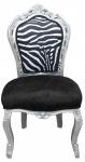 Casa Padrino Barock Esszimmer Stuhl Schwarz / Weiß / Silber ohne Armlehnen - Antik Möbel Zebra