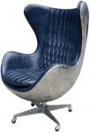 Casa Padrino Echtleder Egg Chair Blau / Silber 87 x 77 x H. 116 cm - Luxus Drehsessel