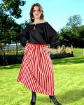 Striped Wench Skirt red/white- Medieval Skirt Pirate