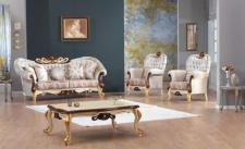 Casa Padrino Barock Neoklassik Sofa Set - 3er Sofa, 2 Sessel und Couchtisch - creme/braun/gold - Luxus Kollektion aus Italien