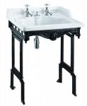 Casa Padrino Jugendstil Stand Waschtisch Weiß / Schwarz mit 2 Hahnlöchern - Barock Waschbecken Barockstil Antik Stil