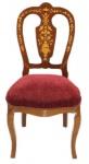 Casa Padrino Barock Luxus Esszimmer Stuhl Bordeaux / Mahagoni Intarsien - Antik Stil - Möbel