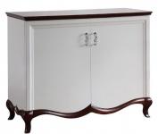Casa Padrino Luxus Art Deco Schrank mit 2 Türen Weiß / Dunkelbraun 114 x 46, 5 x H. 90, 2 cm - Luxus Möbel