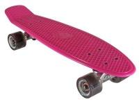 Oldschool Skateboard Plastic Cruiser 70s Style Pink/Black Plastik Skateboard - Vinyl Skateboard Cruiser Longboard