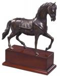 Casa Padrino Luxus Bronzefigur Pferd mit Holzsockel Bronze / Braun 31, 5 x 12, 5 x H. 37, 3 cm - Dekofigur