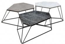 Casa Padrino Designer Couchtisch Set Weiß / Grau / Schwarz mit Muster - Luxus Wohnzimmermöbel