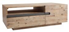 Casa Padrino Designer Fernsehschrank Teakgrau B.115 x H.40 x T.60 - Sideboard - Kommode - Handgefertigt Echtholz!