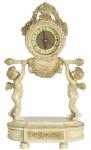 Casa Padrino Barock Tischuhr Engel Creme / Gold 23 x 14 x H. 37 cm - Deko Uhr im Barockstil