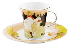 """Handgearbeitete Kaffeetasse aus Porzellan mit einem Motiv von T. Lautrec """" Moulin Rouge"""" 0, 21 Ltr. - feinste Qualität aus der Tettau Porzellanfabrik - wunderschöne Tasse"""