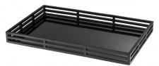 Casa Padrino Luxus Serviertablett Mattschwarz / Schwarz 56 x 36 x H. 5 cm - Edelstahl Tablett mit schwarzem Spiegelglas