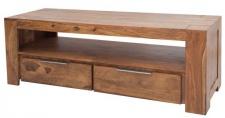 Casa Padrino Designer TV-Board B.135 x H.45 x T.45 - Fernsehschrank - Kommode - Sideboard - Handgefertigt aus Massivholz!