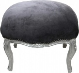 Casa Padrino Barock Fußhocker Grau / Silber Medium - Hocker - Barock Stil Möbel Antik