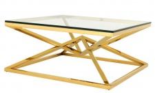 Casa Padrino Luxus Art Deco Designer Couchtisch Edelstahl Gold mit Glas 100 x 100 cm - Luxus Kollektion - Beistelltisch Hotel Möbel