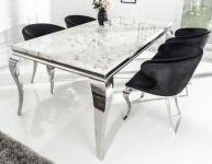 Casa Padrino Designer Esszimmer Set Schwarz / Silber / Weiss - Esstisch 180 cm + 6 Stühle - Modern Barock